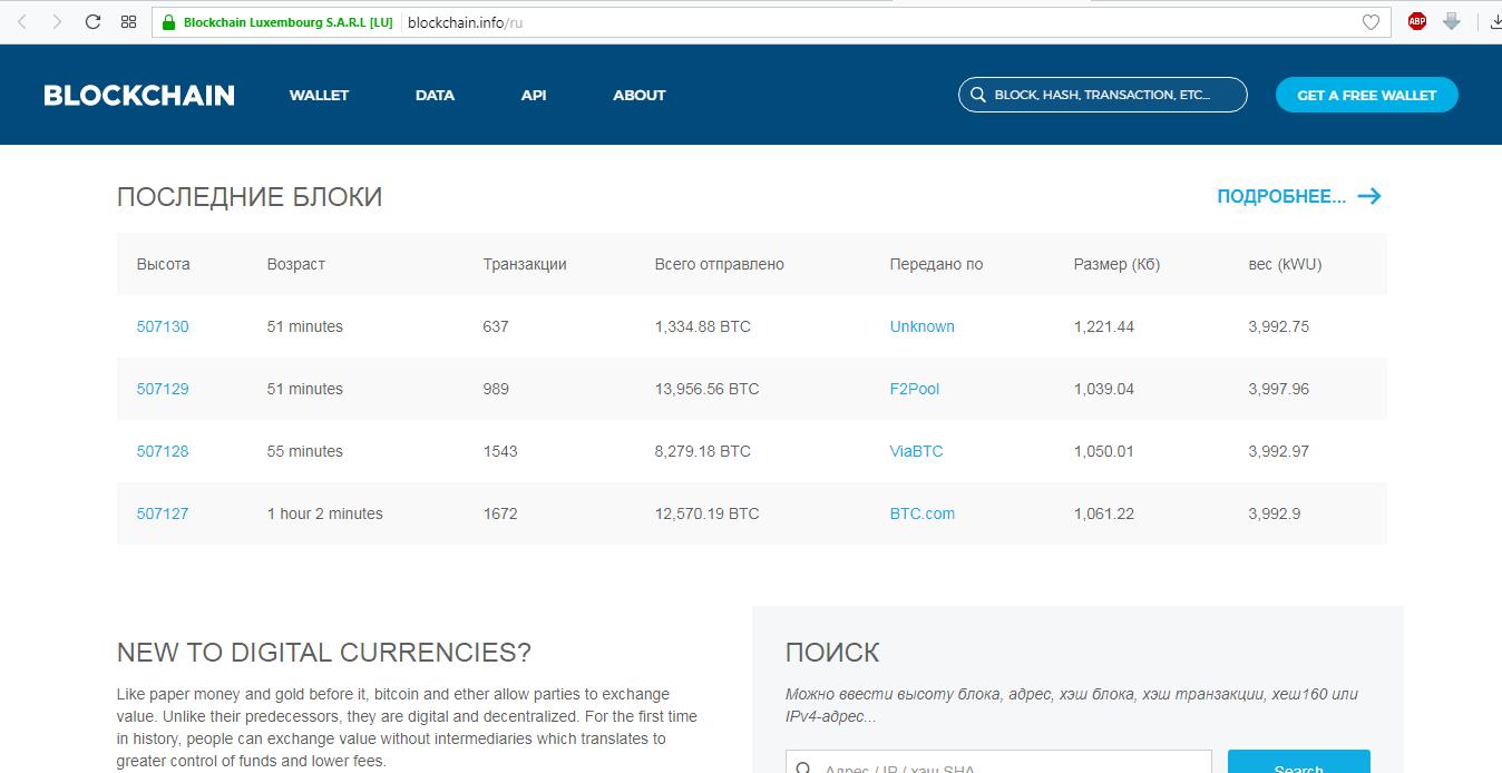 Рис. 15. blockchain.info